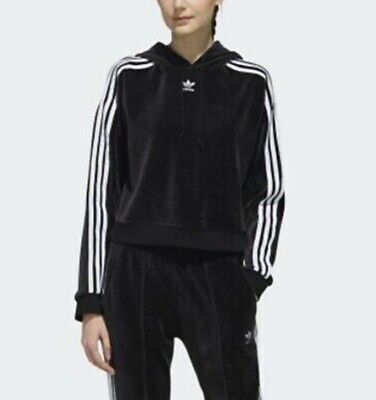 Adidas Velour Black Hoodie. Ladies/Girls Size 6. Good Condition.