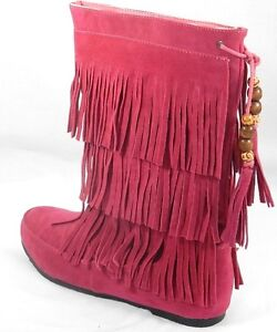 Women's Multi Color Moccasins Tassels Fringe Winter Mid Calf Boots Shoes Sz 5-10