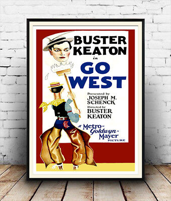 Go West :  Vintage Buster Keaton movie advertising ,  Poster reproduction. Go West Movie Poster