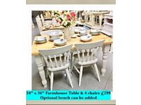 Butchers block dining table and 4 chairs