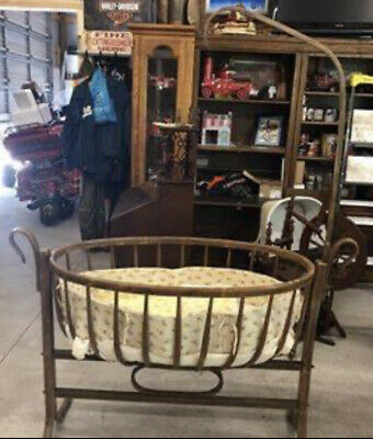 RARE Swan necked crib, Antique Victorian painted wooden Baby Crib/Cradle