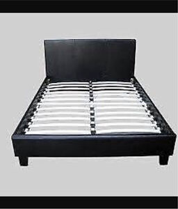BLACK LEATHER BED MUST GO St Helens Park Campbelltown Area Preview