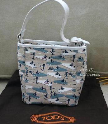 NEW Signed TOD'S Canvas Bucket Tote BAG HANDBAG Purse