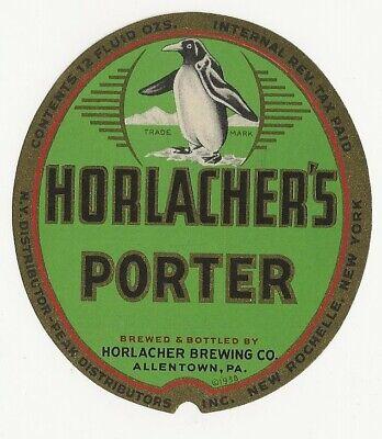 Horlacher's Porter Beer label IRTP Allentown PA Dist NY
