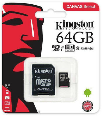 Kingston 64GB micro SD Karte SDHC Class 10 UHS-I 80MB/s Speicherkarte DE/OVP