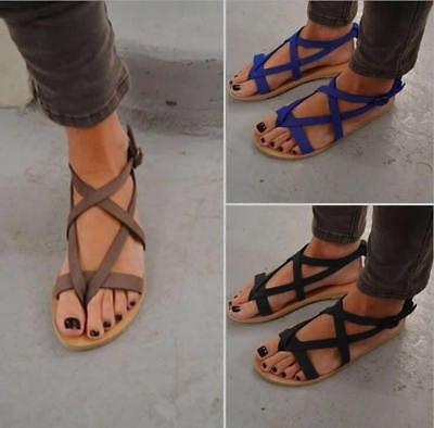 Women Bohemia Ankle Strappy Flats Open Toe Sandals Shoes Summer Beach Flip-Flops