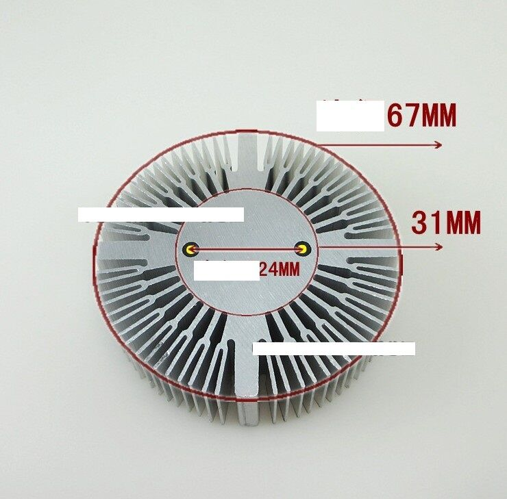 5W6W7W8W9W  LED Aluminum Heat sink Round radiator 67mm OD A128