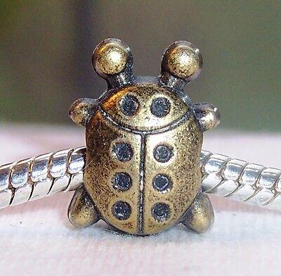 Bronze Brown Ladybug Beetle Lady Bug Large Hole Bead For European Charm Bracelet