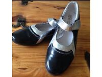 Black and silver real leather flat shoes size 5