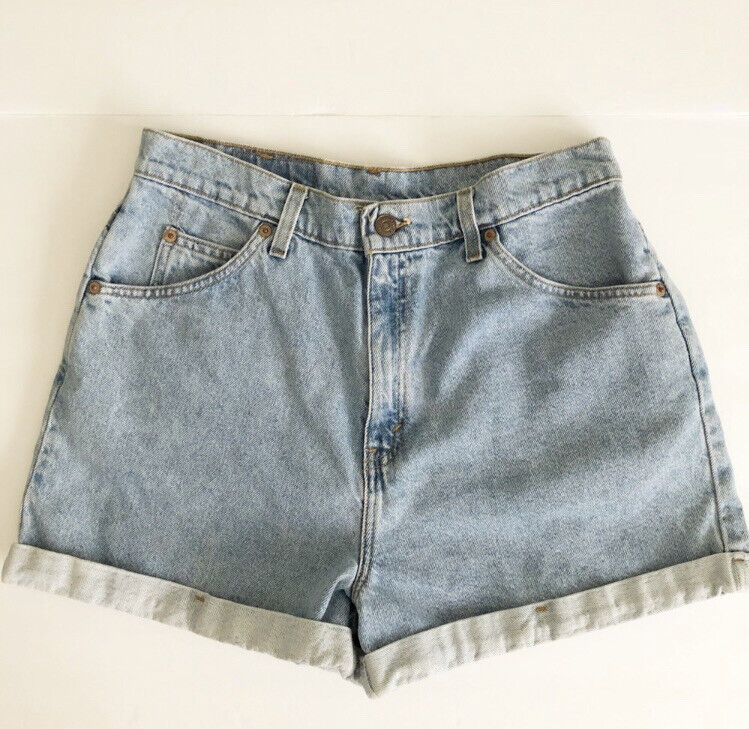 VINTAGE 1980's LEVI's 954 ORANGE TAB HIGH RISE LIGHT WASH JEAN SHORTS WOMENS 13