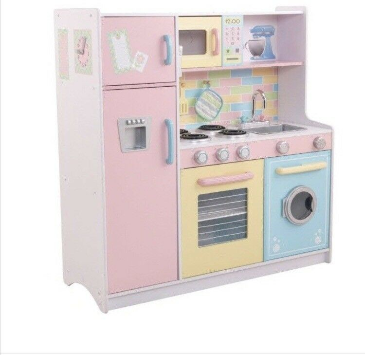 Kids Play Kitchen Wood: Large Kids Children's Pastel Kidkraft Sturdy Wooden