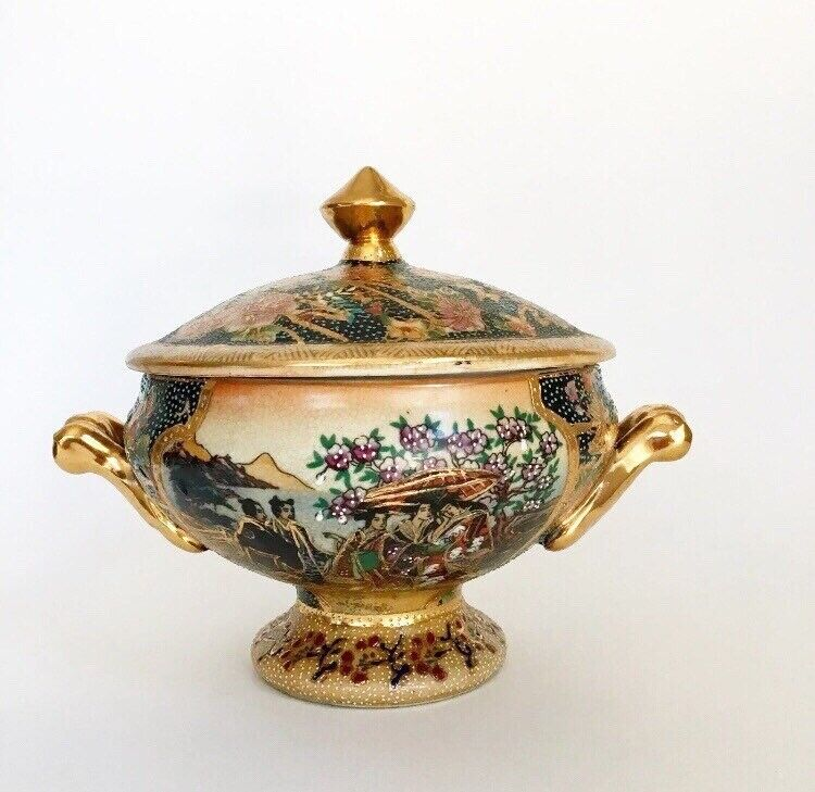 Satsuma Bowl Candy Dish With Lid Gold Vintage