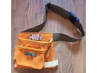 TOOL BELT FROM T & C WORKWEAR SUEDE LEATHER BNWT BROWN HESSIAN BELT