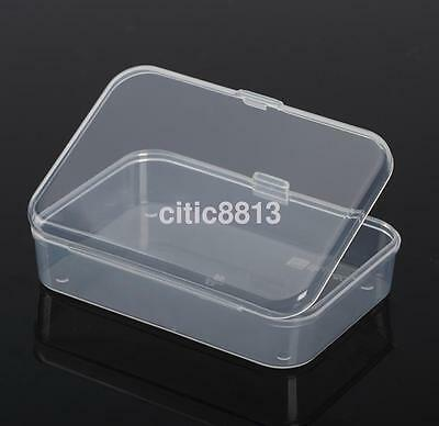 2Pcs Clear Plastic Transparent With Lid Storage Box Collection Container New US - Small Containers With Lids