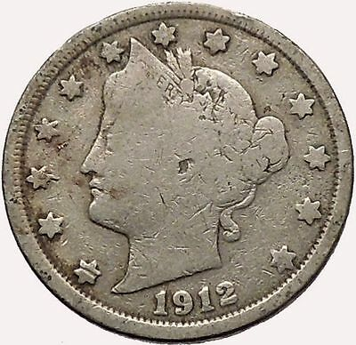 1912 LIBERTY HEAD NICKEL 5 CENT UNITED STATES OF AMERICA USA ANTIQUE COIN I43566