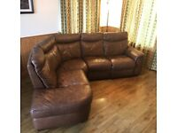 Brown Leather Corner Sofa With Recliner
