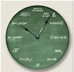 Math Wall Clock Equation Green Chalkboard Image Teacher Student Gift