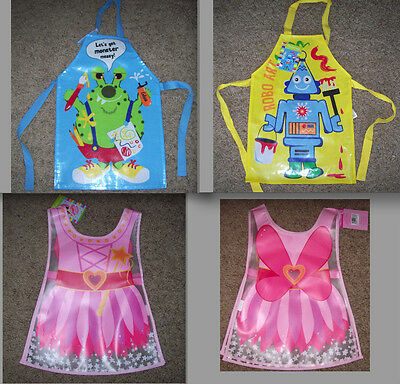 BOYS GIRLS PVC TABARDS APRONS ROBOT MONSTER FAIRY PRINCESS WATERPROOF WIPE - Boy Robot Kostüm