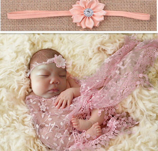 Newborn baby pink lace cocoon swaddle wrap blanket headband photography prop