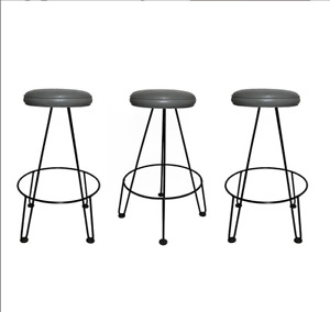 1950s FREDERICK WEINBERG SET OF 3 SCULPTURAL IRON  MCM BARSTOOLS