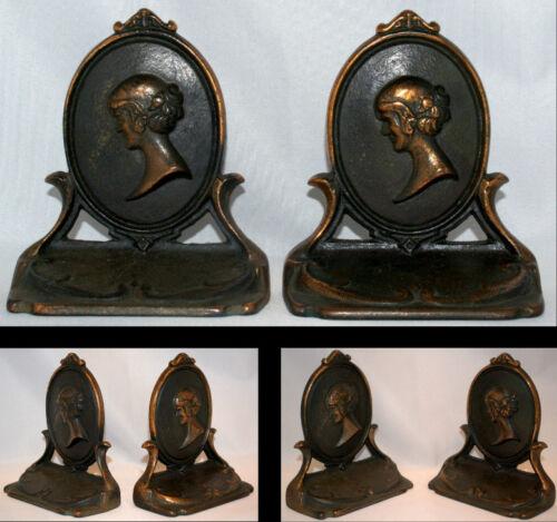 1926 PAIR CAMEO GIRL BOOKENDS CAST IRON COPPER GILT ART NOUVEAU VINTAGE WOMAN