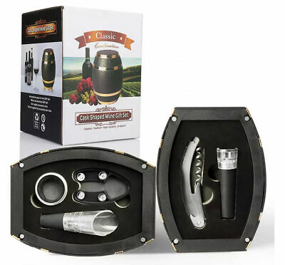 Oak Wine Barrel Shaped Wine Accessories Gift Set