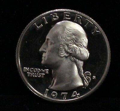 1974 PROOF WASHINGTON QUARTER GEM DEEP CAMEO DCAM