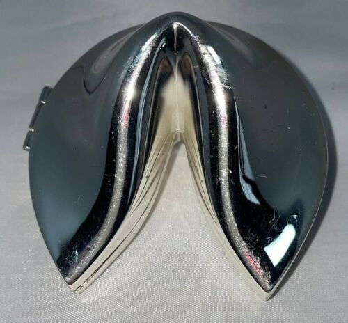 Silver Plated Metal Keepsake Trinket Box Chinese Fortune Cookie Shaped Lucky Box