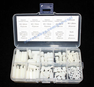 M3-Nylon-Hex-Spacers-Screw-Nut-Assortment-Kit-Stand-off-Plastic-Accessories-Kit