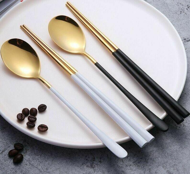 Stainless Kitchen Utensils Steel Silver Chopsticks Spoon Black White Accessories Ebay