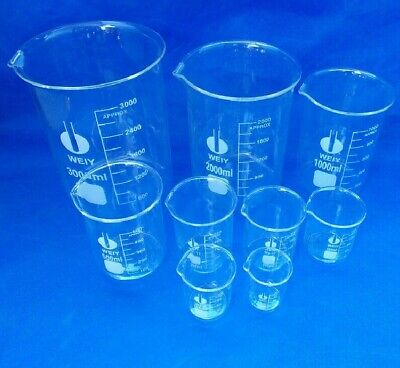 Chemistry Laboratory Beaker Set Clear Glass Beaker New 5ml 10ml 25ml 50ml 100ml