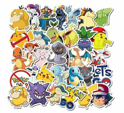 50 Pokemon Laptop Home Wall Window Kids Bedroom Fridge Stickers Pikachu