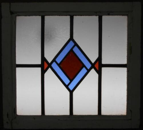 "MID SIZED OLD ENGLISH LEADED STAINED GLASS WINDOW Sweet Geometric 23.25"" x 20.25"