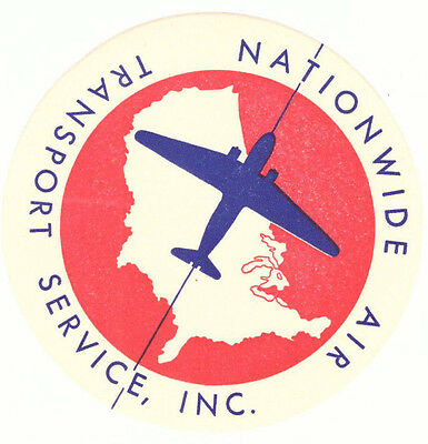 Nationwide Air Transport Service Circa 1940S Airline Aviation Luggage Label