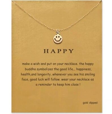 Smiley face necklace smile gold Silver charm Emoji happy Jewelry inspirational - Emoji Smiley Face
