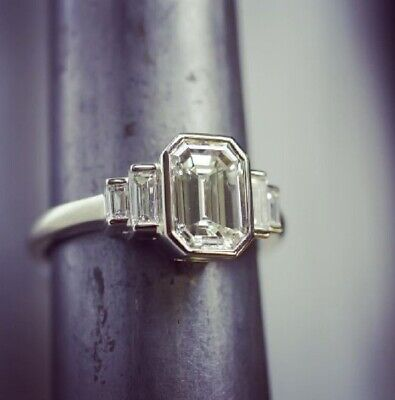 2.40 ct. Emerald Cut w/ Baguette Bezel Set Diamond Engagement Ring I, VS1 GIA