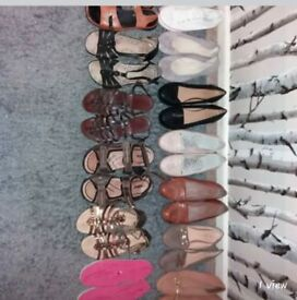 13 Pairs of flat ladies shoes all size 7