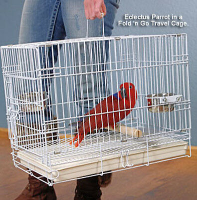 "24"" Large Travel Foldable Carrier Cage For Large Parrot or Bird White 915"