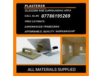 PLASTERER. Glasgow and surrounding area.