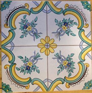 Vietri piastrelle 20x20 decorate a mano riproduzione maioliche antiche dell 39 800 ebay - Piastrelle decorate per cucina ...