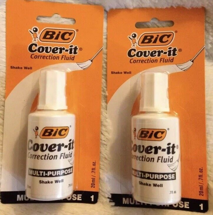 2 BIC Cover-it White Out correction fluid liquid paper 0.7oz Each -Brand New