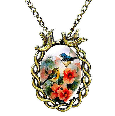 New BLUEBIRD NECKLACE Flowers Vintage Antique Look Glass Cabochon Jewelry Gift