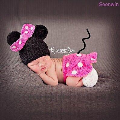 Neugeborene Baby Knit Strick Fotoshooting Minnie Kostüm Mütze Rock Booties