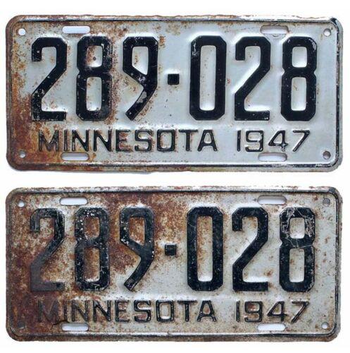 Minnesota 1947 License Plate Pair, 289-028