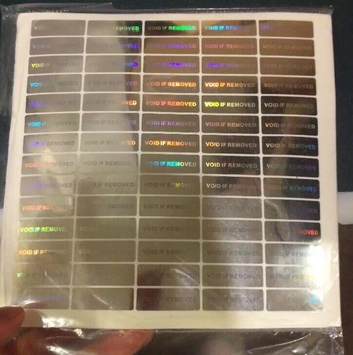 100 Hologram Void Security Labels Removed Tamper Evident Stickers Warranty WVIR