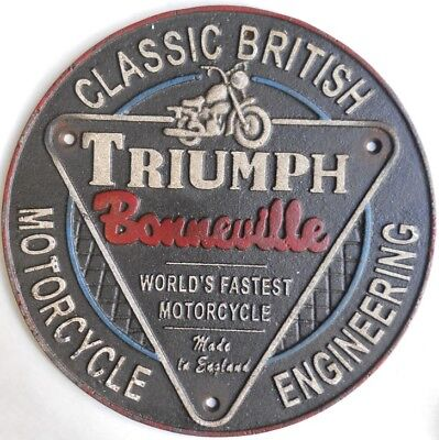 Triumph Bonneville Motorcycle Round Cast Iron British Sign Plaque #625