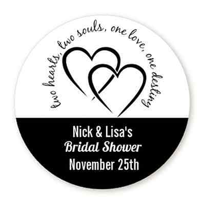 Two Hearts - Round Personalized Bridal Shower/Wedding Sticker Labels -6 - Personalized Wedding