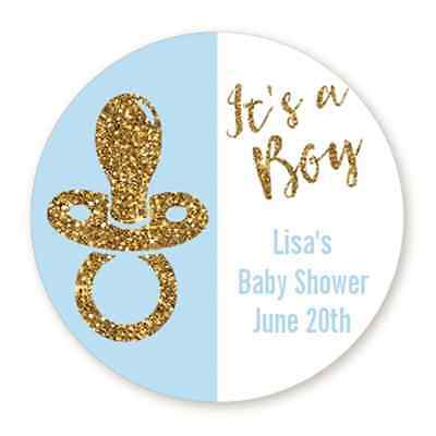 It's A Boy Gold Glitter Pacifier - Round Personalized Baby Shower Sticker Labels](Its Boy)
