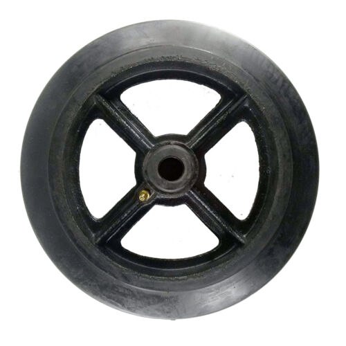 """10"""" x 2"""" Rubber on Cast Iron Wheel with Bearing - 1 EA"""