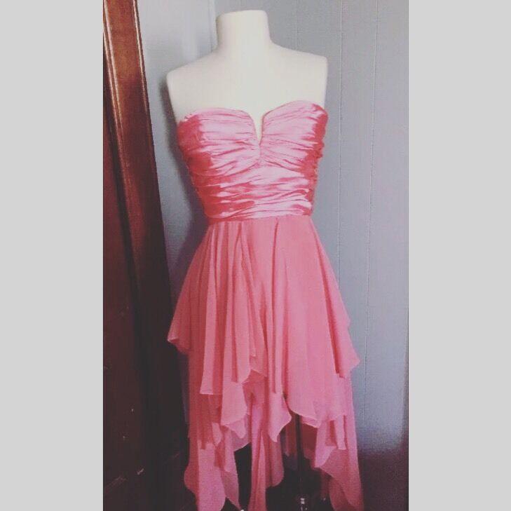 Ynes Coral Asymmetrical Hem Formal Prom Cocktail Party Dress L